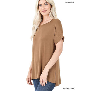 NEW! Luxe Modal Short Cuff Sleeve Boat Neck Top with High-Low Hem Deep Camel / S Tops