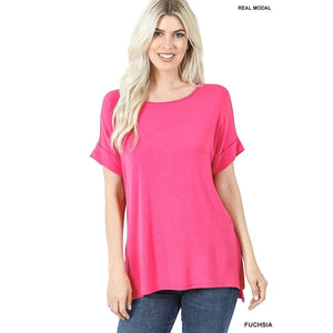 NEW! Luxe Modal Short Cuff Sleeve Boat Neck Top with High-Low Hem Fuchsia / S Tops