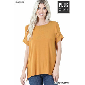 NEW! Luxe Modal Short Cuff Sleeve Boat Neck Top with High-Low Hem Tops