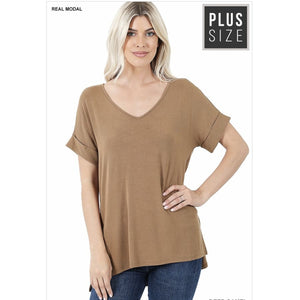 NEW! Luxe Modal Short Sleeve V-Neck Top with High-Low Hem Deep Camel / 1XL Tops