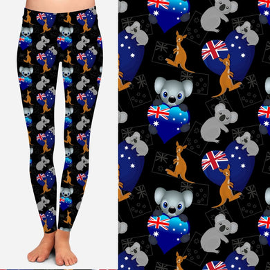 NEW PRINT! Australian Theme Leggings and Joggers Australia Hearts / OS Leggings