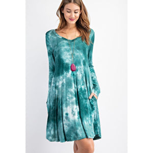 NEW! Tie Dye Print V-Neck Long Sleeve Swing Dress with Pockets Jade / S Dress