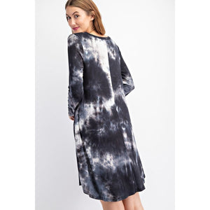 NEW! Tie Dye Print V-Neck Long Sleeve Swing Dress with Pockets Dress