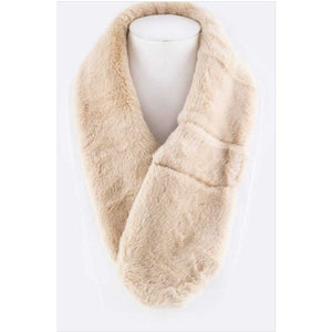 Plush Pull Through Scarf Beige Scarves