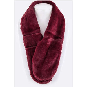 Plush Pull Through Scarf Burgundy Scarves