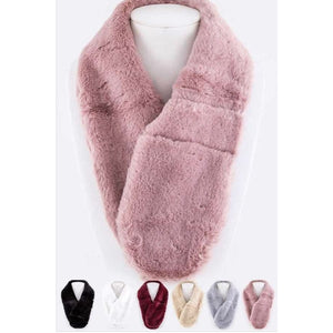 Plush Pull Through Scarf Pink Scarves