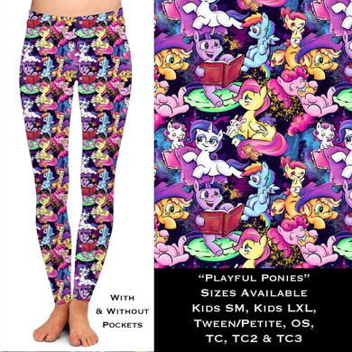 PREORDER Custom Leggings/Joggers! CLOSES 04 DEC - ETA late FEB Playful Ponies / OS Leggings
