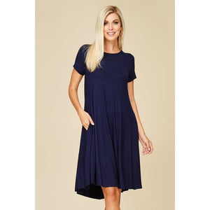 Short Sleeve Mid Length Dress With Pockets Dresses