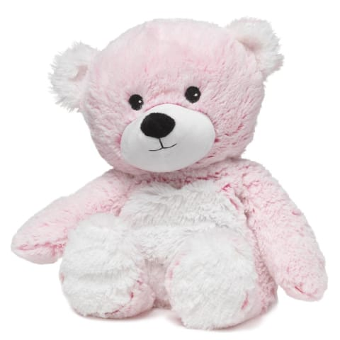 Warmies Large 33cm - Plush Animals filled with Flaxseed and French Lavender - Pink Marshmallow Bear