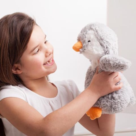 Warmies Large 33cm - Plush Animals filled with Flaxseed and French Lavender - Grey Penguin