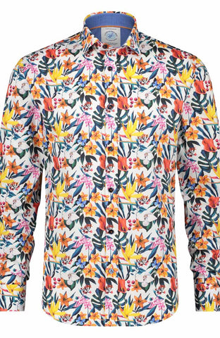 A Fish Named Fred Floral Design Shirt