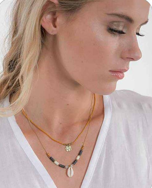 Cienna Designs Double Strand Gold Colour Shell Necklace SA1188 - Three Bears Coastal Urban