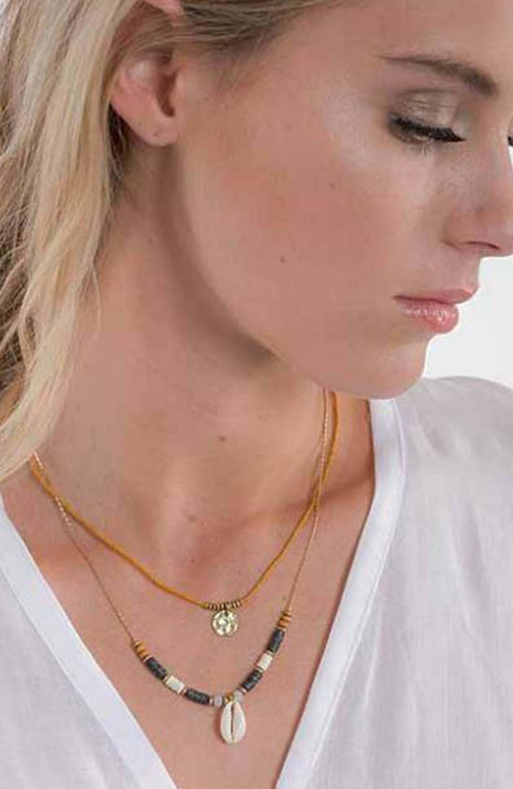 Cienna Designs Double Strand Gold Colour Shell Necklace SA1188 - Three Bears  #threebearsperth