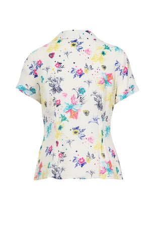 Ivko Shirt Floral Pattern, White Wash - Three Bears Coastal Urban