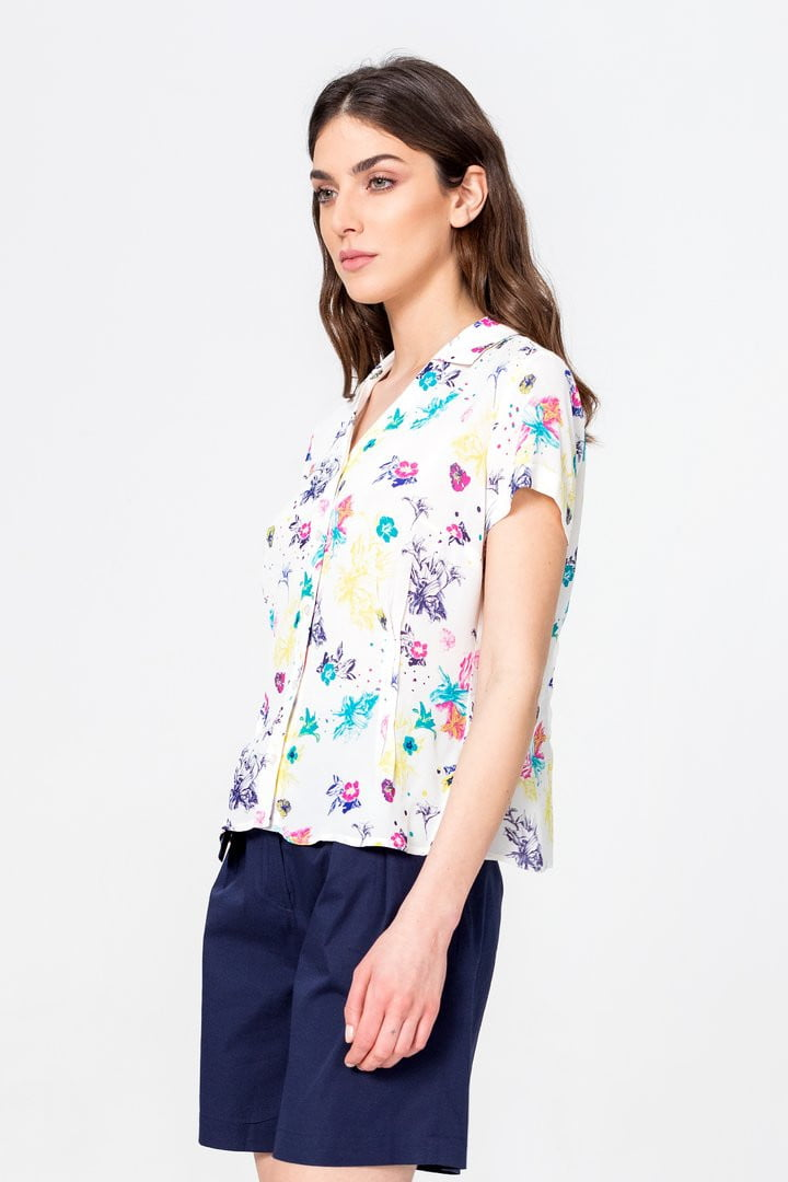 Ivko Shirt Floral Pattern, White Wash