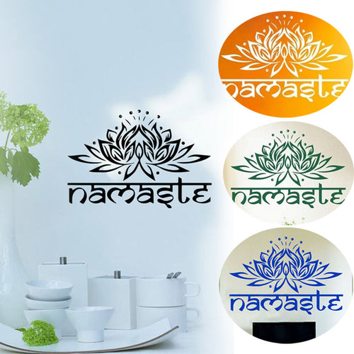 Namaste Wall Stickers/Decal Lotus Ganesha Bedroom Flower