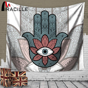 Miracille Hamsa Hand Indian Tapestry for Yoga, Meditation, or Home Decoration
