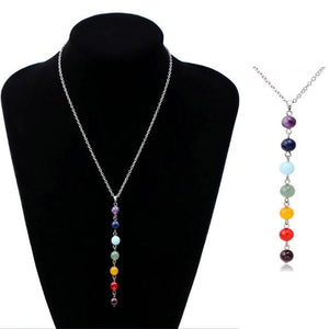 7 Chakra Gem Stone Beads Pendant Necklace - New