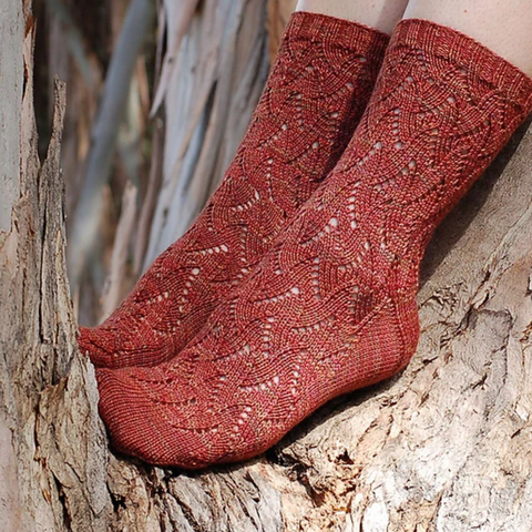 Knit lace socks in a burnt orange to red color.