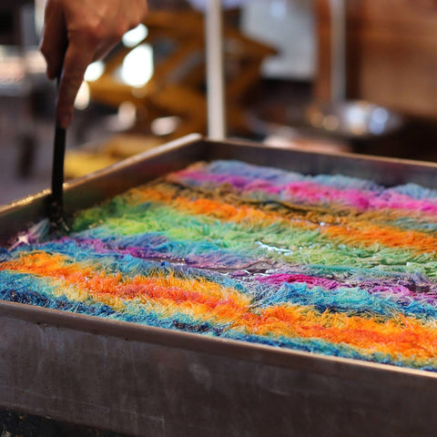 This image is about Koigu's special dye pot where they design and create the beautiful colorways that all love.