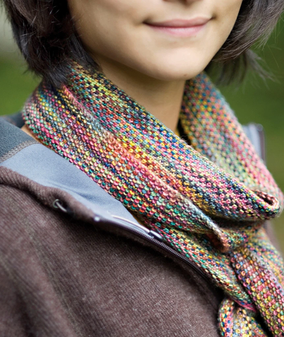 Image of the Koigu Linen Stitch Scarf from Churchmouse Yarns made with 18 different Koigu colorways