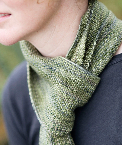 Image of the Koigu Linen Stitch Scarf from Churchmouse Yarns made with Koigu KPPPM in several shades of green