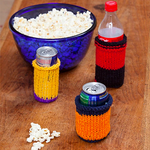 Knitted Can Cozie by Designer Whitney Christmas