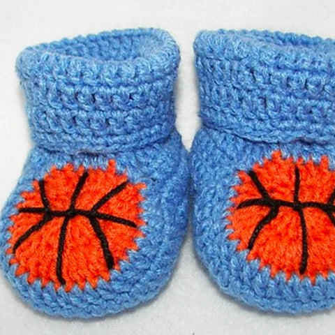 Basketball Baby Booties Pattern by Designer Sara Ayers