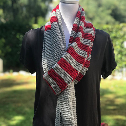 Go Team Striped Scarf Pattern by Designer Bonnie Nurnberger