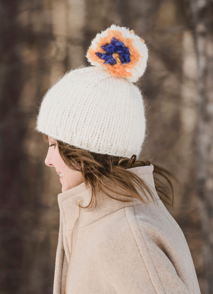 Blue Sky Fibers Big Pom Hat at Michigan Fine Yarns