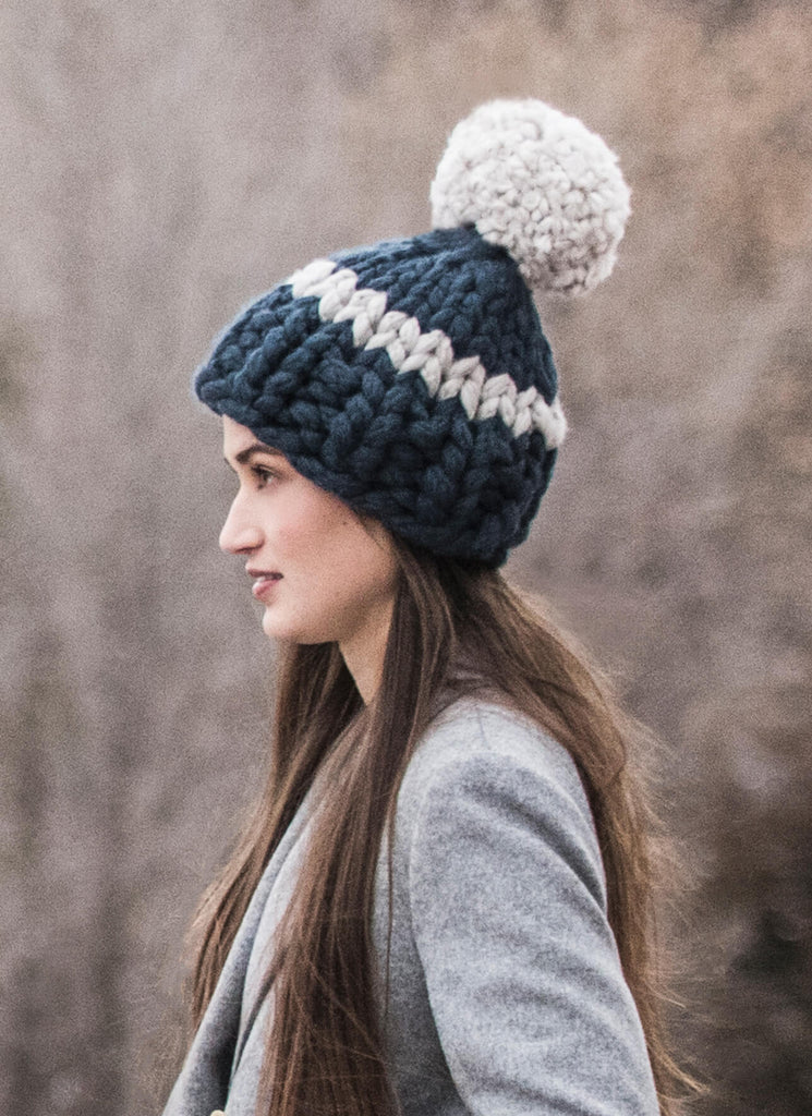 Blue Sky Fibers Jumbo Pom Hat at Michigan Fine Yarns