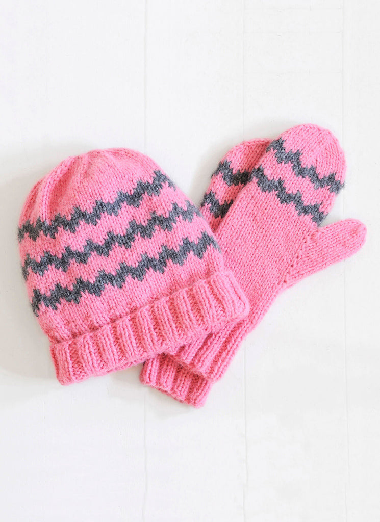 Blue Sky Fibers Zig Zag Mittens & Hat at Michigan Fine Yarns