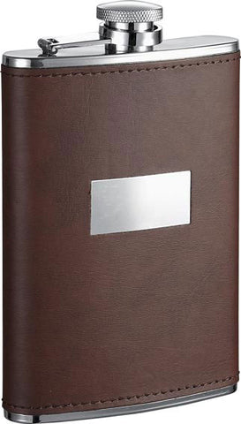 Visol Alcide Brown Leather Stainless Steel Hip Flask - 6 oz