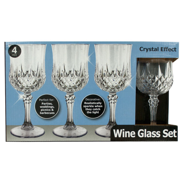 Crystal Effect Plastic Wine Glass Set Case Pack 4