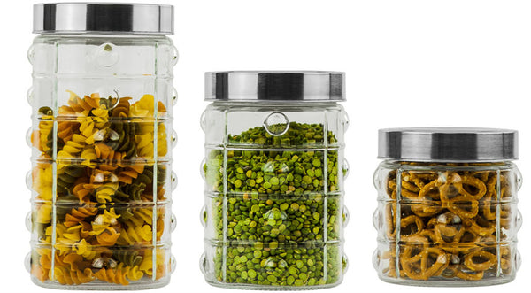 Glass Canister Set With Embossed Dimple Design Case Pack 6