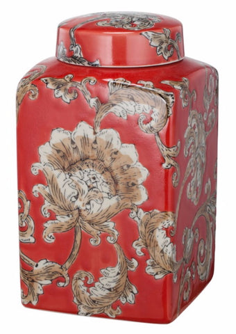 Beautiful Lidded Flower Motif Jar In Red