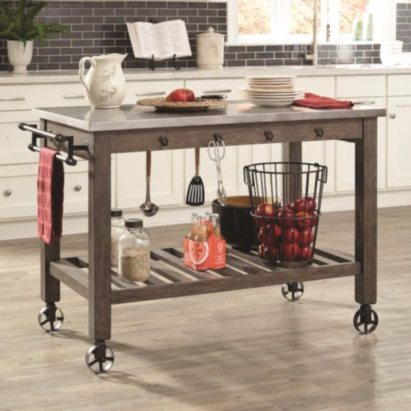 Rustically Charmed Wooden Kitchen Island With Metal Casters, Brown And Silver
