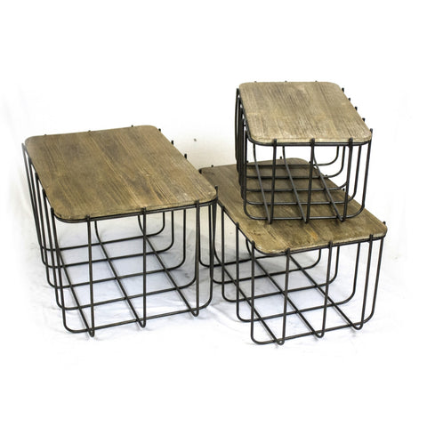 Practical Set of 3 Metal Storage Baskets With Lids, Black and Brown
