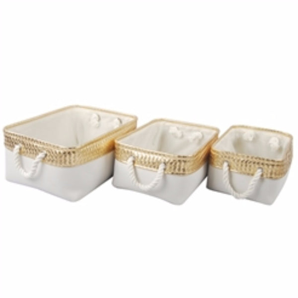 Burlap Containers, Set of 3, White & Gold
