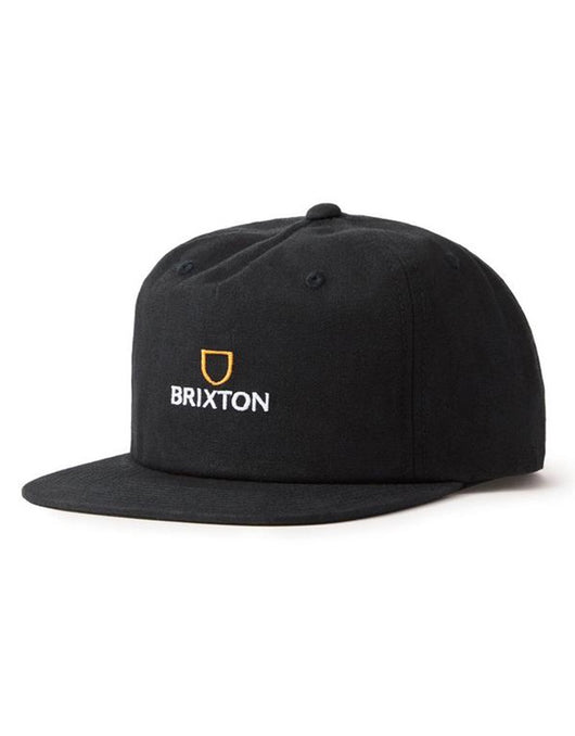 Brixton Alpha MP Snapback | Black/Gold