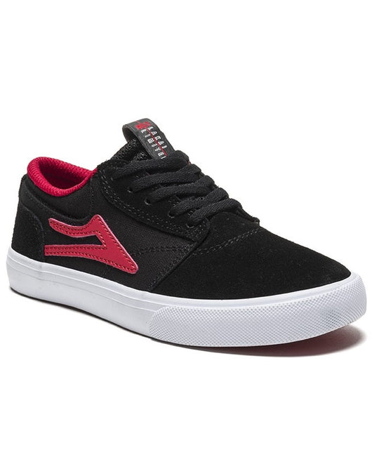 Lakai Griffin Kids Shoe Black/Red Suede