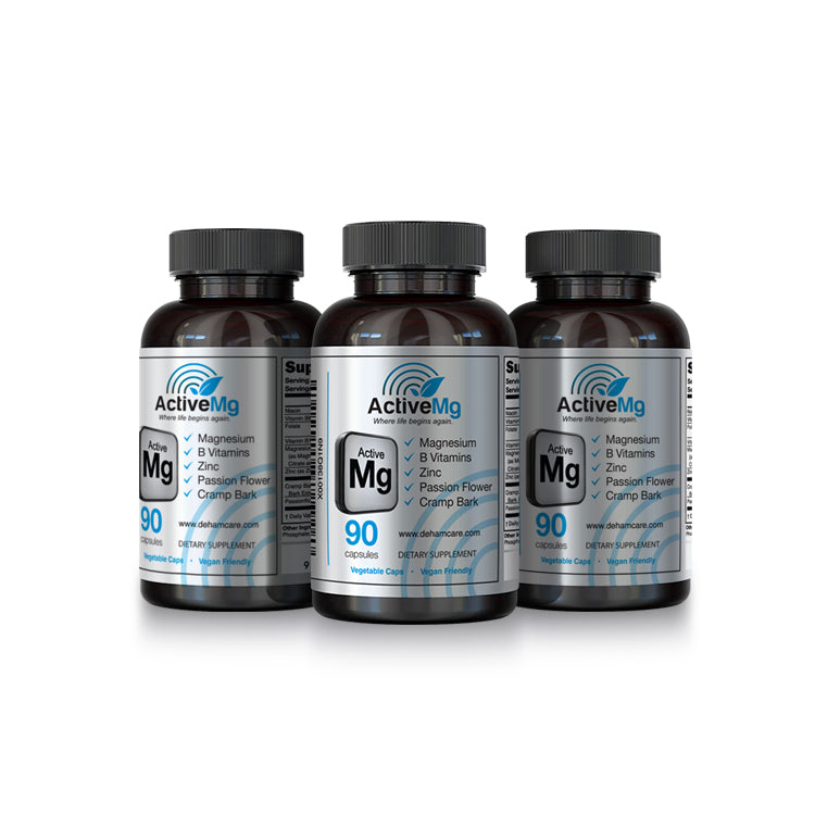 ActiveMg - Activated Magnesium for Anxiety, Migraine, RLS & PMS - 3 BOTTLE PACK