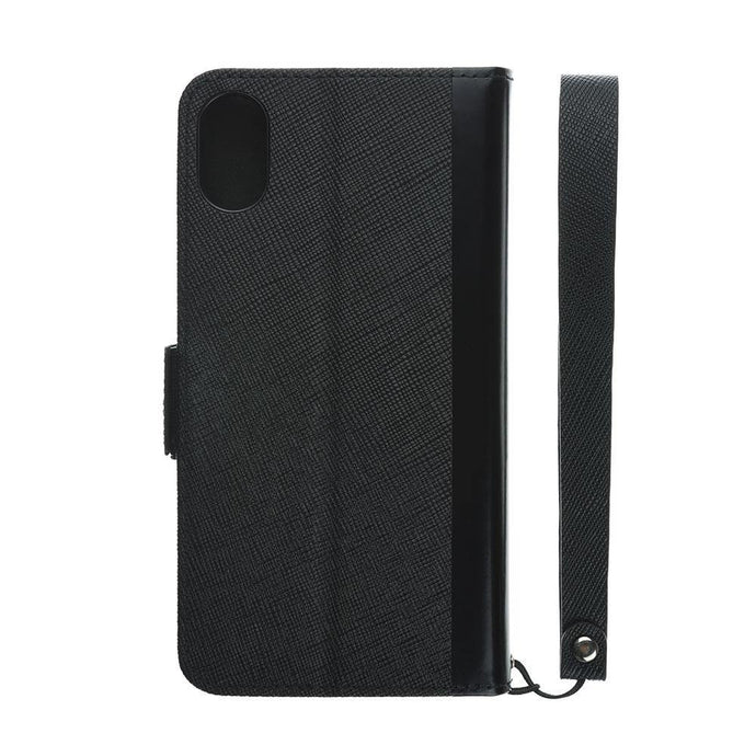 iPhone X Leathe Flip Case 皮革紋翻蓋皮套(黑)