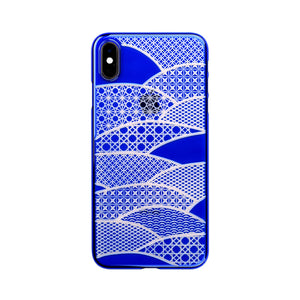 iPhone Xs Max Air Jacket Kiriko 江戶切子-千代柄 扇(藍)