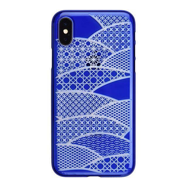 iPhone X Air Jacket Kiriko 江戶切子-扇形(藍)