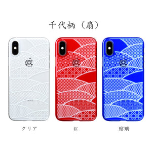 iPhone Xs Air Jacket Kiriko 江戶切子-千代柄 扇(紅)
