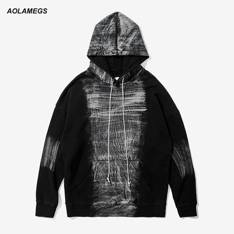 555a73d651b Aolamegs Men Hoodies Sweatshirts High Street Tie Dye Washed Printing Long  Sleeved Pullovers Fashion Streetwear Hip