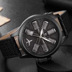 Aircraft Engine Leather Watch - Rebel Heat