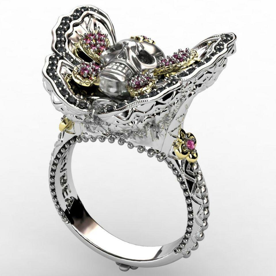 Gothic Butterfly Skull Ring - Rebel Heat