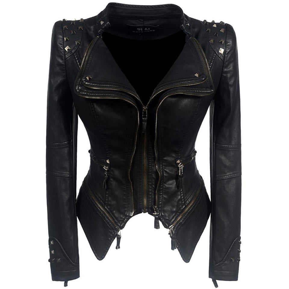 Gothic PU Studded Leather Jacket - Rebel Heat